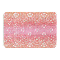 """KESS InHouse - Suzie Tremel """"Medallion Red Ombre"""" Pink Memory Foam Bath Mat (17"""" x 24"""") - These super absorbent bath mats will add comfort and style to your bathroom. These memory foam mats will feel like you are in a spa every time you step out of the shower. Available in two sizes, 17"""" x 24"""" and 24"""" x 36"""", with a .5"""" thickness and non skid backing, these will fit every style of bathroom. Add comfort like never before in front of your vanity, sink, bathtub, shower or even laundry room. Machine wash cold, gentle cycle, tumble dry low or lay flat to dry. Printed on single side."""