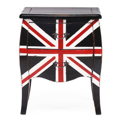 Union Jack End Cabinet - The Union Jack design makes this otherwise traditional cabinet a stunner. Place it in a quiet corner that needs a bit of volume and storage space, or make it the statement centerpiece in the living room. Made from solid elm, the two-drawer cabinet with antique metal pulls brings the cool back into modern Britannia style.