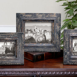 Kalapini, S/3 - Frames have a heavily distressed slate blue finish with light gray and natural wood undertones.