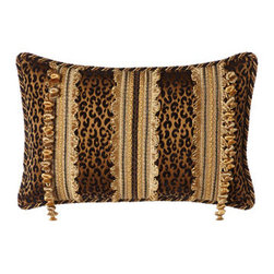 "Sweet Dreams - Sweet Dreams Black & Gold Animal Pillow, 13"" x 20"" - Originality and opulence come together in ""Mi Amore"" bedding by Sweet Dreams®. The look features an integrated animal and damask pattern on a rich scarlet ground, metallic embroidery, a host of fancy trims, and much more. Bedspreads have a scarlet..."