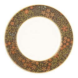 Lenox - Lenox Gilded Tapestry Salad Plate - Serve salads and more on this Gilded Tapestry chocolate-rimmed salad plate that's crafted of Lenox fine white bone china. A golden and bronze floral motif graces the rich brown rim.