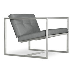 Delano Chair by Gus Modern - One of Gus' classic models, the Delano Chair features an architectural silhouette. This modern lounge chair's combination of blind-tufted leather seat and back cushions atop a square, stainless steel frame is hard to miss in any setting. The lack of a supporting column underneath the seat gives the appearance that the chair is floating.