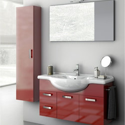 ACF - 39 Inch Bathroom Vanity Set - Set Includes: . Vanity Cabinet (2 doors, 2 drawers). Fitted ceramic sink (41.7 inch x 19.3 inch ). Mirror (W 41.3 inch x H 21.8 inch ). Tall Storage Cabinet (W 13.8 inch x H 59.1 inch x D 8.2 inch ). Vanity light. Polished Chrome Towel Rail. Vanity Set Features:. Vanity cabinet made of engineered wood. Cabinet features waterproof panels. Available in Glossy Red, Glossy Anthracite, Glossy White. Cabinet features 2 doors and 2 soft-closing drawers. Faucet not included. Perfect for modern bathrooms. Made and designed in Italy. Includes manufacturer 5 year warranty.