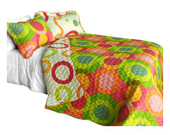 Blancho Bedding - [Colorful Doughnut] Cotton 2PC Vermicelli-Quilted Patchwork Quilt Set Twin Size - The [Colorful Doughnut] Quilt Set (Twin Size) includes a quilt and a quilted sham. This pretty quilt set is handmade and some quilting may be slightly curved. The pretty handmade quilt set make a stunning and warm gift for you and a loved one! For convenience, all bedding components are machine washable on cold in the gentle cycle and can be dried on low heat and will last for years. Intricate vermicelli quilting provides a rich surface texture. This vermicelli-quilted quilt set will refresh your bedroom decor instantly, create a cozy and inviting atmosphere and is sure to transform the look of your bedroom or guest room. (Dimensions: Twin quilt: 67.7 inches x 87.7 inches Standard sham: 24 inches x 33.8 inches)