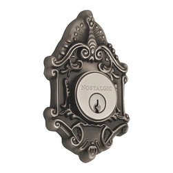 Nostalgic Warehouse - Nostalgic Victorian Double Cylinder Deadbolt Keyed Alike in Antique Pewter - The Victorian Double Cylinder Deadbolt in antique pewter with its distinct curvilinear embellishment, is unmistakably old world vogue. Keyed alike. Made of solid (not plated) forged brass for durability and beauty.