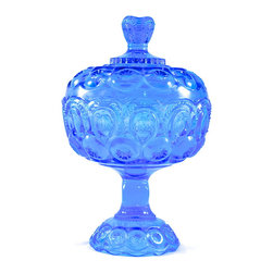 "L.E. Smith Glass - Adonis Collection | L.E. Smith Glass - L.E. Smith Glass blue lidded ""Moon and Stars"" pattern candy dish with lid. 10.25"" high, 6.25"" across.  Fine condition."