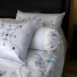 Luxurious & Decorative Bedding Sets - King Size Unique 7-piece bedding set. Indian Hand Painted. Snow White color. Soft, luxurious Dupion silk fabric.