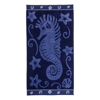 Superior - Superior Collection Luxurious Jacquard Cotton Beach Towel - Sea Horse - Relax and dry off in style with these velour terry cloth beach towels from Superior. This fun design features light blue sea horse on a solid navy blue.  Dimensions: 34x64.
