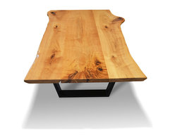 """Etz & Steel - """"Java"""": Hard Maple Live-Edge Coffee Table with Steel Base, Black - Characteristic edges and stunning detail on every side. Beautiful wood grain with a sleek contrast of dark and light wood. A conversation starter and inspiration board for your living room. Part of our """"Marvelous Maples"""" collection. Gorgeous designs handcrafted out of durable and luxurious Hard Maple."""
