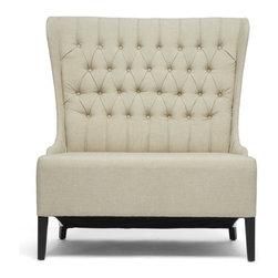 Wholesale Interiors - Vincent Beige Linen Modern Loveseat Bench - Beige linen fabric upholstery