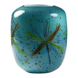 Viz Glass, Inc. - Aqua Lagoon Illuminated Art Lamp - Utility meets artistry in the vivid Aqua Lagoon Illuminated Art Lamp. This wide cylinder lamp uses a cool color palette and brown and green spatter pattern to evoke images of algae floating in an ocean pool. Set it atop an entryway or side table for a bold look that pairs well with eclectic decor. Use a 100 watt maximum medium base bulb, bulb not included.