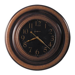 """HOWARD MILLER - Howard Miller Rockwell 29-1/2"""" Wall Clock - This 29-1/2"""" oversized gallery wall clock features a dramatic, profiled, metal case with a unique, brown brushed finish"""