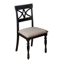 Jofran - Jofran 293-154KD Chesterfield Tavern Scroll Back Side Chair (Set of 2) - The Chesterfield Tavern collection will add a country-Chic look to your casual dining space. With eye-Catching details such as fluted legs, beautiful two-toned antiqued tables, detailed scroll and splat back side chairs and a server that boasts plenty of room for your serving essentials this set will add a lot of character to your room. Choose from two table types and two beautiful colors: antique white or antique black.
