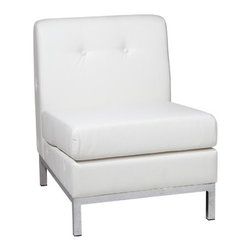 Avenue Six - Avenue Six Wall Street Armless Chair, White - -RTA design for convenience and easy shipping
