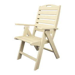 Nautical High Back Folding Chiar Sand All Weather Outdoor Recycled Plastic Furni - The perfect chair for poolside lounging, causal outdoor dining, or for camping.  Made from recycled plastic.