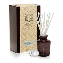 White Tea & Mint Diffuser - Soft, relaxing, and clean, the scent of the White Tea and Mint Diffuser is perfect for greeting you in the morning in an airy vacation-home bedroom, but also adds a certain gentle freshness to a busy kitchen.  Its sweet, lively spearmint aroma is blended with the instantly familiar, youthful notes of night-blooming jasmine; delicate white tea completes the fragrance.