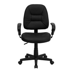 "Flash Furniture - Mid-Back Black Leather Ergonomic Task Chair with Arms - Affordable leather computer chair will provide you with the comfort needed for browsing the internet. This chair was designed to provide comfort and support. The mid-back design makes it a perfect desk chair especially for smaller work spaces, but still doesn't compromise on its appeal and features. Adjustable polyurethane arms allow for a custom fit.; Mid-Back Swivel Chair; Black Leather Upholstery; Back Tension Control; Pneumatic Seat Height Adjustment; Height Adjustable Arms; Heavy Duty Nylon Base; Dual Wheel Casters; Assembly Required: Yes; Country of Origin: China; Warranty: 2 Years; Weight: 29 lbs; Dimensions: 33.75""H x 24.5""W x 22.5""D"