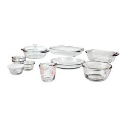 Anchor Hocking - 15 Pc. Glass Bakeware Set - 15 Pc. Bake Set, (2 qt. Bake Dish, 1.5 qt. Casserole/Glass Cover, 1.5 qt. Loaf, 1.0 qt. MixingBowl, 9 in. Pie, 8 oz. Measuring Cup, 4 x 6 oz. Custard Cups w/ PlasticLids)