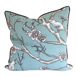 The Pillow Studio - Designer Pillow Cover with Piping in Dwell Studio Vintage Blossom Bird Fabric - Designer Pillow Cover with Piping in Size: 20x20