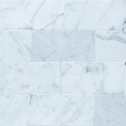 "3""x6"" Bianco Carrara - Polished - 3""x6"" Polished Bianco Carrara Marble Tile . This stone tile and pattern is so adaptable, it works great as a kitchen backsplash or as bathroom shower or wall tile. Mix with hex marble floor tile or even white ceramic hex tile for that vintage bath look."