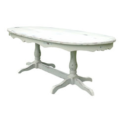 Fable Porch Furniture - Hampton Double Pedestal Dining Table - The distressed ivory finish elegant trim of this table recall the French countryside. It's the perfect setting to enjoy your morning coffee and croissant. Birdsong not included.