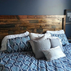 James+James Beds - James+James queen sized Platform Bed and Pieced Headboard in out Dark Walnut and Midnight stains.