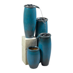 Kenroy - Kenroy 50008BG Agua Indoor/Outdoor Floor Ftn - Three tiers of water pour through this collection of elongated graceful pots, glazed in a brilliant Cerulean wash.  These vessels, with the look and feel of native craft, will bring life to living spaces indoor or out.