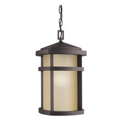 KICHLER - KICHLER 9567AZ Lantana Soft Contemporary/Casual Lifestyle Outdoor Hanging Light - The Lantana™ collection of outdoor lighting is handsomely stylish with solidly defined lines and done in Architectural Bronze finish and Light Umber glass. This 1 light outdoor pendant uses a 150-W (M) lamp and is U.L. listed for damp location. U.S. Patent Pending.For additional chain order KCH-4927-AZ
