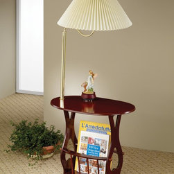 Coaster - Cherry Traditional Accent Table - Cherry finish magazine table with brass finish swing arm.