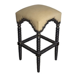 Noir - Noir - Abacus Barstool, Hand Rubbed Black w/ Gold Trim - Hand Rubbed Black and Gold Mahogany Wood with Olive Cotton