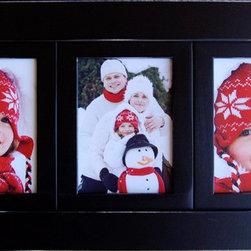 MyBarnwoodFrames - Collage Picture Frame with Three 4x6 openings Black Triple Frame - Triple collage picture frame with three (3) 4x6 openings. Great for gifts, these linear collage frames allow you to display three side by side photos all in the same hardwood frame. Painted with lightly distressed edges, you can choose from several designer colors.   Hang horizontally or vertically. Hanging hardware, glass and backing are included. Easy removal of photos. Just bend the flexible push points, insert your own photos, and replace the backing. Made in USA.  Group several of these 3-opening multi-picture frames together for a unique collage, or combine your collage picture frame with several of our other black wood frames for a stunning wall display. Our black wood collage frames are available in several different configurations.  Black frames are generally in stock, but please allow up to 3 weeks for shipping of all frames in other colors.