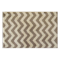 "Grund - Grund Premium Bathroom Comfort Mats-Chevron Series, Light Brown, Small - Trendy and stylish!  The Chevron Series is one of our most popular lines that melts together today's most sought-after pattern with classic colors...a combination that is sure to start your day in style!  Machine tufted.  Comes in three colors and is available in three sizes:  21"" X 24"" small, 24"" X 36"" medium, 24"" X 60"" large."