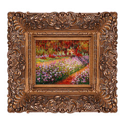 overstockArt.com - Monet - Artist's Garden at Giverny Oil Painting - Hand painted oil reproduction of a famous Monet painting, Artist's Garden at Giverny. The original masterpiece was created in 1900. Today it has been carefully recreated detail-by-detail, color-by-color to near perfection. Why settle for a print when you can add sophistication to your rooms with a beautiful fine gallery reproduction oil painting? Giverny sits on the banks of the River Seine. The village lies 50 miles Northwest from Paris, on the border next to the province of Normandy. Claude Monet noticed the village of Giverny while looking out the window of a train. In 1890 Monet bought a house and land in Giverny and created the magnificent gardens he wanted to paint. While Monet successfully captured life's reality in many of his works, his aim was to analyze the ever-changing nature of color and light. Known as the classic Impressionist, Monet cannot help but inspire deep admiration for his talent in those who view his work. This work of art has the same emotions and beauty as the original. Why not grace your home with this reproduced masterpiece? It is sure to bring many admirers!