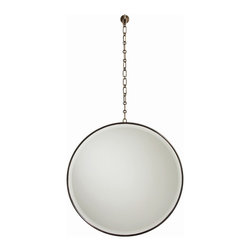 Arteriors - Fletcher Mirror, Antique Brass - Chained to typical mirror styles? You'll love the versatility and instant glam of this large round mirror suspended by a chain. Picture it over the bathroom sink in the powder room or above your fireplace. One thing's for sure: Wherever you hang it, you just broke free from typical.