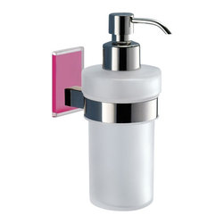 Gedy - Wall Mounted Frosted Glass Soap Dispenser With Pink Mounting - Modern, contemporary style wall mounted hand soap dispenser.