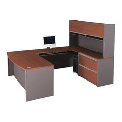 Bestar - Bestar Connexion U-Shape Home office Set with 1 Oversized Pedestal in Bordeaux a - Bestar - Computer Desks - 9386339 - Sleek and Stylish the Connexion Modular Collection is the ideal office solution. Functional yet attractive and full of space saving solutions this reversible collection will provide a clean uncluttered look in any office space.