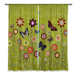 """DiaNoche Designs - Window Curtains Unlined - Sascalia Bohemian Butterflies - DiaNoche Designs works with artists from around the world to print their stunning works to many unique home decor items.  Purchasing window curtains just got easier and better! Create a designer look to any of your living spaces with our decorative and unique """"Unlined Window Curtains."""" Perfect for the living room, dining room or bedroom, these artistic curtains are an easy and inexpensive way to add color and style when decorating your home.  The art is printed to a polyester fabric that softly filters outside light and creates a privacy barrier.  Watch the art brighten in the sunlight!  Each package includes two easy-to-hang, 3 inch diameter pole-pocket curtain panels.  The width listed is the total measurement of the two panels.  Curtain rod sold separately. Easy care, machine wash cold, tumble dry low, iron low if needed.  Printed in the USA."""