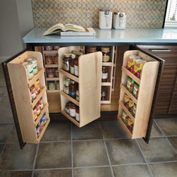 Getting Organized with Fieldstone Cabinetry - Counter height pantry with tons of solid wood storage