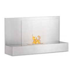 """Ignis Fireplaces - Ignis Ater SS, Wall Mounted Ethanol Fireplace - Go for an inviting look in any room by hanging this Ater SS Wall Mounted Vent less Ethanol Fireplace on your wall. This beautiful wall mount fireplace is easy to hang and features a sleek modern design with a glass safety shield that is held up by a stainless steel shelf for a look that is chic and up-to-the-minute. The unobtrusive design of this fireplace makes it ideal for your contemporary decor and it throws out enough heat to keep an average-sized room toasty warm and comfortable. This 6 000-BTU fireplace comes with an ethanol burner insert a damper tool and mounting hardware. Dimensions: 35.4"""" x 19.75"""" x 11""""."""
