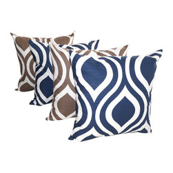 Land of Pillows - Emily Navy Blue and Drew Italian Brown Modern Ogee Throw Pillows - Set Of 4, 16x - Fabric Designer - Premier Prints