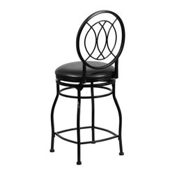 Flash Furniture - Flash Furniture Barstools Metal Counter Height Barstools X-GG-RTC-KB-42-9036-SB - This gracefully styled stool will add an elegant finish to your kitchen, dining room or bar area. The curvaceous frame and attractive powder coated finish will complement any decor. The plush padded seat looks and feels great. A full 360 degree swivel and footrest ring provides comfort and ease. [BS-6309-24-BK-CTR-GG]