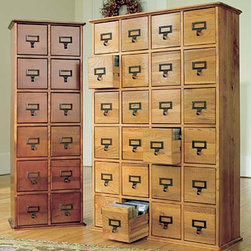 Retro-Style Wooden Multimedia Library File Cabinets - Find a place for non-digital files with this filing system that evokes the sense of card catalogs from yesteryear.