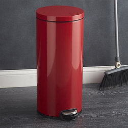 Round Red 8-Gallon Step Can - This classic pedal bin in durable, high-gloss red offers a clean and simple trash solution for just about any setting. Generous cylinder can with a 30-liter capacity (8 gallons) is outfitted with a noise-free damper system and integrated chrome handle for easy removal of the durable bin liner.