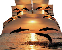 Dolce Mela - Marine Luxury Bedding Duvet Cover Set Dolce Mela DM426, King - Transform your bedrooms energy with this spectacular animal themed bedding of adorable dolphins dancing in the pacific sunset scenery and crate a romantic bedding decor.