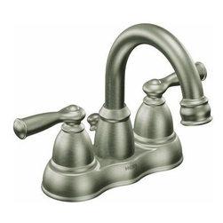 "MOEN INC - Lavatory Faucet 2-Handle Popup Nickel - Spot resistant finish, low arc spout design, self-centering rotating spout, 4"" center set, plastic pop-up drain assembly, 1/2"" IPS connection, ADA compliant. Finish brushed nickel."