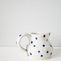 Sweet Small Polka Dots Creamer by The Cupcake Kid - The imperfect hand-painted blue dots are what make this dainty little creamer perfect. It would make serving coffee and tea sweeter.
