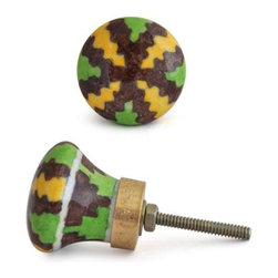 "Knobco - Zig-Zags Knob, Yellow, Brown And Green - Yellow, Brown and Green Hand painted knob from Jaipur, India. Unique, hand painted cabinet knobs for your kitchen  cabinets. 1.5"" in diameter. Includes screws for installation."