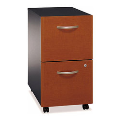 Bush Business - Assembled Rolling File Cabinet in Two Tone - The Assembled Series C Auburn Maple Two-Drawer File rolls smoothly on heavy duty casters and stores beneath most standard office desks to save space.  Both drawers open on full-extension ball bearing slides and are safely secured by a single gang lock.  Keep files safe and organized at cubicle styled workstations and administrative or reception areas.  Rolling cabinets feature a complementing two-tone finish with fully extendable drawers.  Case is completely assembled for convenience and single lock prevents access to upper and lower storage. * Casters allow easy mobility. File fits under desks. Each drawer holds letter, legal and A4-size files. One gang lock secures both drawers. Drawers open on full-extension ball bearing. 15.709 in. W x 20.276 in. D x 28.110 in. H