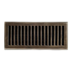 """Brass Elegans 116D AB Brass Decorative Floor Register Vent Cover - Contemporary - This antique brass finish solid brass floor register heat vent cover with a contemporary design fits 4"""" x 10"""" x 2"""" duct openings and adds the perfect accent to your home decor."""