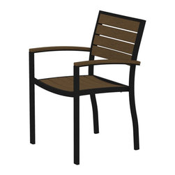 PolyWood - Euro Armchair by Polywood, Black/Teak - Contemporary design meets casual comfort in the Polywood�� Euro Dining Arm Chair. This modern chair, with its spacious seat and comfortable arms, will add a touch of sophistication to your outdoor entertaining space. Whether you��re creating a sitting area or need coordinating seating for your Euro dining table, this attractive, low-maintenance chair is ideal. It��s made in the USA with a sturdy aluminum frame and eco-friendly, fade-resistant Polywood recycled lumber slats. While it has the appearance of painted wood, it requires none of the maintenance real wood does. Backed by a 20-year warranty, this chair won��t splinter, crack, chip, peel or rot. It��s also resistant to nature��s elements, stains, corrosive substances, insects, fungi, salt spray and other environmental stresses. In addition, this chair is easy to clean and it never has to be painted, stained or waterproofed.